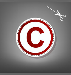 Copyright sign red icon with vector