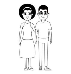 Couple avatar cartoon character portrait in black vector
