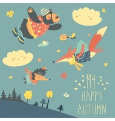 Cute animals and autumn leaves flying in the sky vector