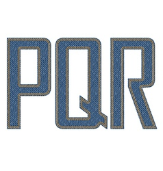 Denim fabric stithed letters vector image