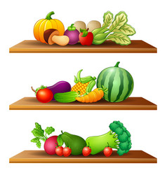 Different kinds of fruits and vege vector