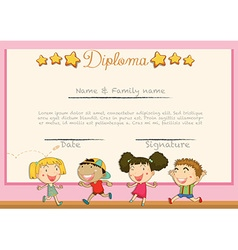 Diploma with children background vector