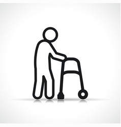 Disability walker symbol icon vector
