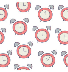 doodle seamless pattern with alarm clock on white vector image