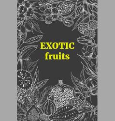 Exotic fruits vertical frame vector