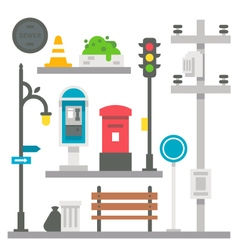 Flat design street items set vector image