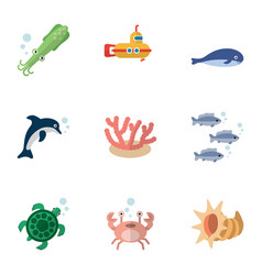 Flat icon marine set of tortoise tuna cancer and vector