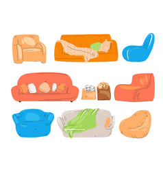 flat set cozy couch divan sofa chairs vector image