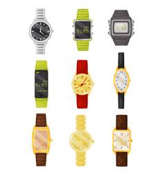 flat set of mechanical and digital wrist vector image