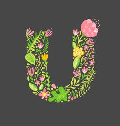 Floral summer letter u flower capital wedding vector