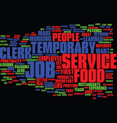 Food service clerk temporary job text background vector