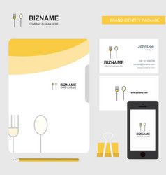 fork and spoon business logo file cover visiting vector image