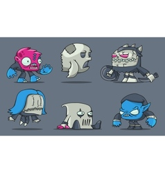 Funny cartoon game monsters vector