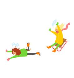 girls sledging winter vector image