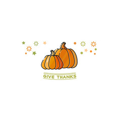 give thanks card cartoon pumpkins isolated on vector image