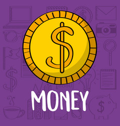 gold dollar coin money currency business vector image