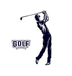 golf player silhouette of a golf player vector image