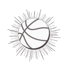 Gray scale silhouette with basketball ball vector