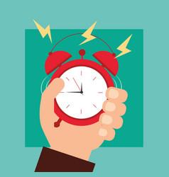 hand holding alarm clock wake up vector image
