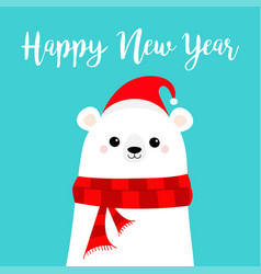 Happy new year candy cane polar white bear cub vector