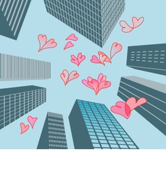 Hearts and buildings vector