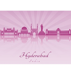 Hyderabad skyline in purple radiant orchid vector