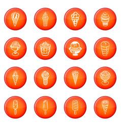 ice cream icons set red vector image