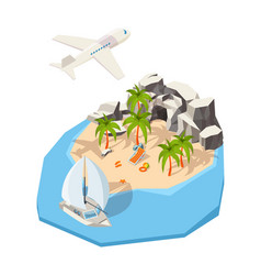 isometric island dream holiday vacation at vector image