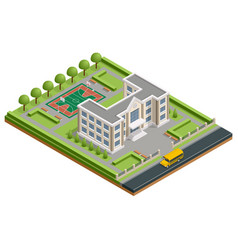 isometric public school building exterior school vector image