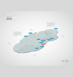 Isometric qatar map with city names vector