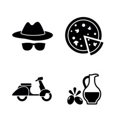 italian culture simple related icons vector image