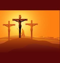 jesus dies on cross vector image