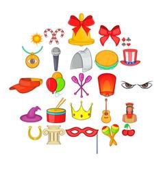 Joy icons set cartoon style vector