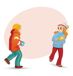 Kids children playing snowballs and space for text vector