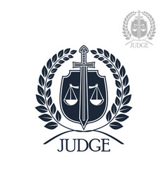 Lawyer firm judge and law office symbol vector