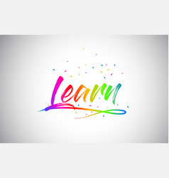 Learn creative vetor word text with handwritten vector