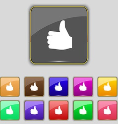 Like Thumb up icon sign Set with eleven colored vector