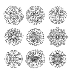 Linear doodle flower set vector