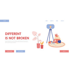 Little girl character with autism disorder landing vector