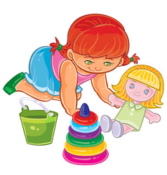 little girl sitting on floor and playing vector image