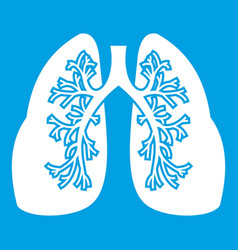 Lungs icon white vector