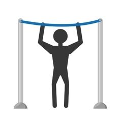 man workout bar gym arms silhouette vector image