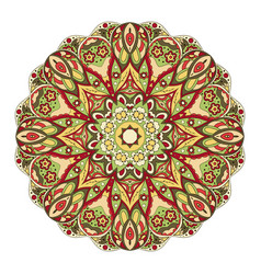 mandala round oriental pattern doodle drawing vector image