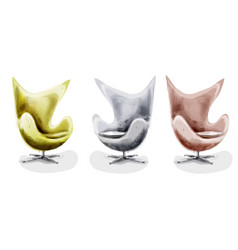 modern chair set watercolor design decor vector image