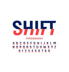 Modern shift font alphabet letters and numbers vector