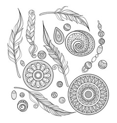 monochrome set of tribal decorative objects vector image