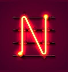 neon font letter n art design signboard vector image