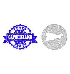 Network mesh round hole map capri island with vector