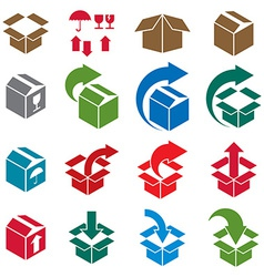 Packaging boxes icons isolated on white background vector image
