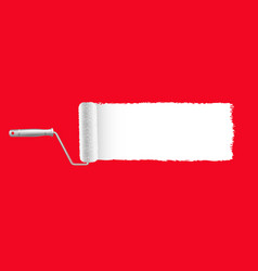 paint roller and paint stroke red background vector image